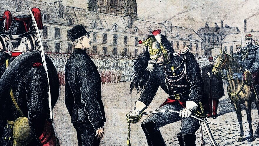 "Capt. Alfred Dreyfus being stripped of rank in the French military (""Le traître : Dégradation d'Alfred Dreyfus""), Jan. 13, 1895. Credit: Henri Meyer, National Library of France (Bibliothèque Nationale de France)."