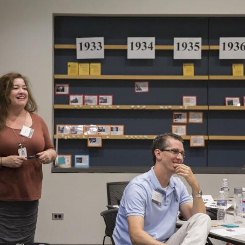 Christina Chaverria, program coordinator for education initiatives for the United States. Holocaust Memorial Museum's Levine Institute for Holocaust Education, leads a teacher training during the Conference of Holocaust Centers in 2018. Credit: United States Holocaust Memorial Museum.