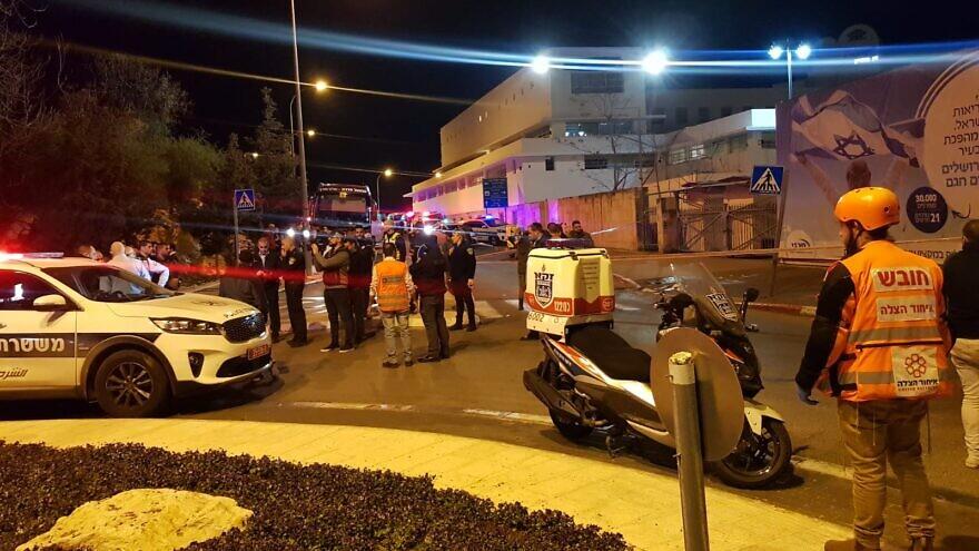 Paramedics treat the victims of a suspected terror attack in Jerusalem on Feb. 6, 2020. Credit: United Hatzalah.
