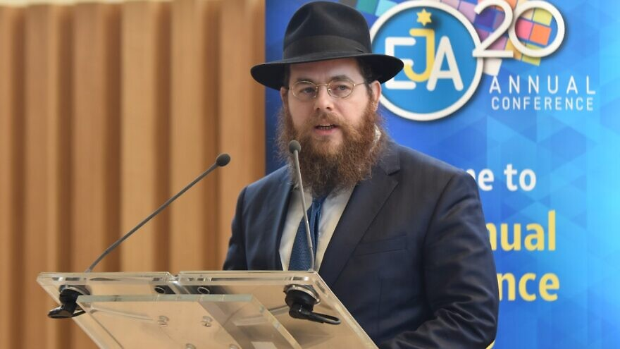Action and Protection League of Europe (APL) chairman Rabbi Shlomó Köves speaks at the European Jewish Association's (EJA) annual policy conference in Paris on Feb. 24, 2020. Credit: Yoni Rykner.