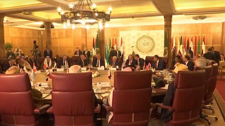Palestinian leader Mahmoud Abbas addressing the Arab League on Feb. 1, 2020. Source: Screenshot.