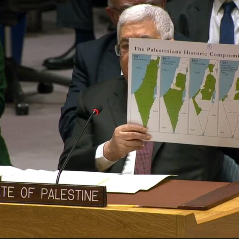 Palestinian Authority leader Mahmoud Abbas at the United Nations on Feb. 11, 2020. Source: Screenshot.