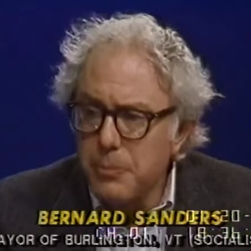 Sen. Bernie Sanders (I-Vt.) during a C-Span interview when he was mayor of Burlington, Vt., in 1988. Source: Screenshot.