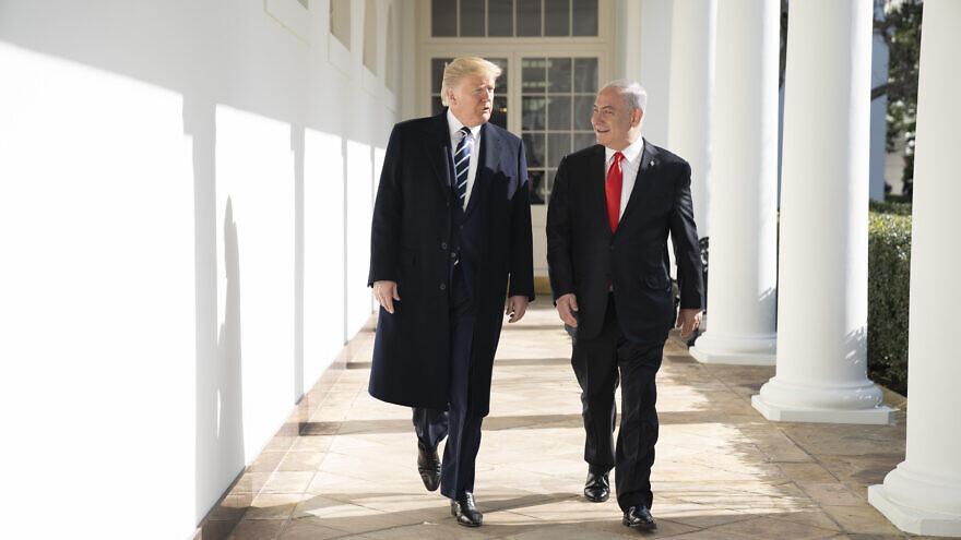 U.S. President Donald Trump walks with Israeli Prime Minister Benjamin Netanyahu on Jan. 27, 2020, along the White House colonnade. Official White House Photo by Shealah Craighead.