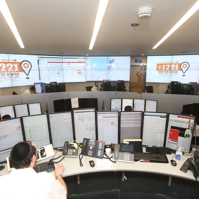 "United Hatzalah opened a ""humanitarian emergency center"" to help coordinate and deliver food packages to elderly citizens and Holocaust survivors on March 25, 2020. Credit: Courtesy."