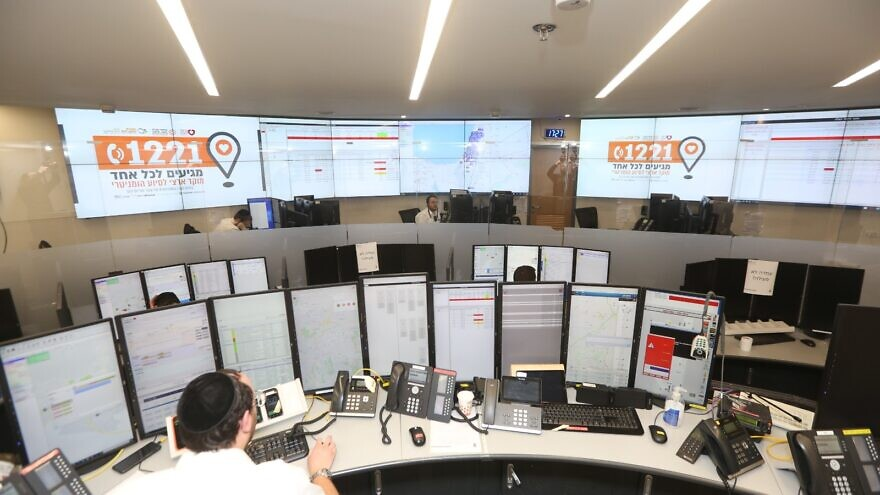 """United Hatzalah opened a """"humanitarian emergency center"""" to help coordinate and deliver food packages to elderly citizens and Holocaust survivors on March 25, 2020. Credit: Courtesy."""