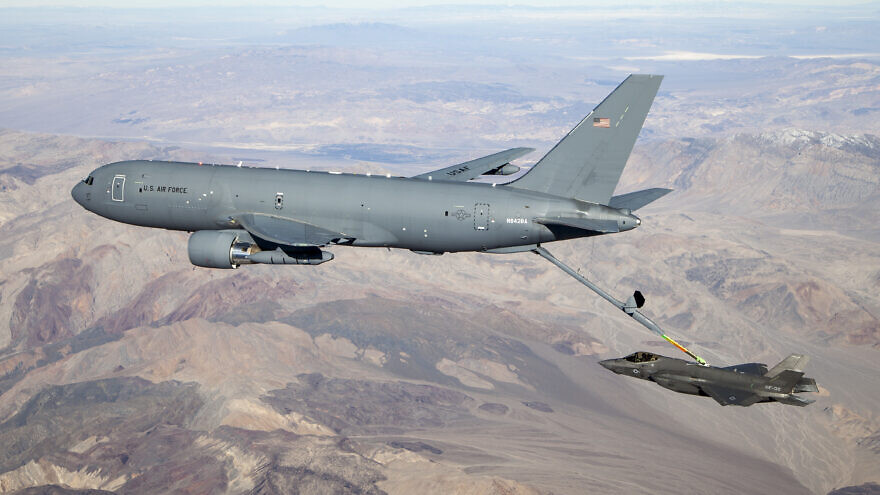 A KC-46A Pegasus connects with an F-35 Lightning II in the skies over California on Jan. 22, 2019. Credit: Kenji Thuloweit/U.S. Air Force.