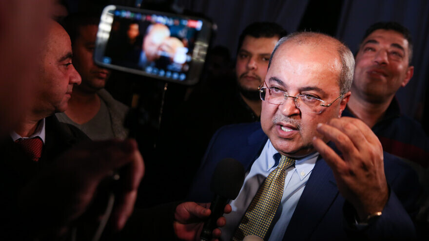 Joint Arab List Party member Ahmad Tibi at party headquarters in the Arab city of Shfar'am during elections on March 2, 2020. Photo by David Cohen/Flash90.