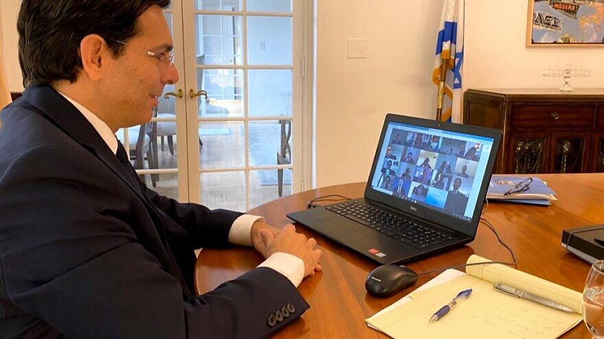 Israeli Ambassador to the United Nations Danny Danon participates in a U.N. Security Council video conference on March 30, 2020. Credit: Permanent Mission of Israel to the United Nations.
