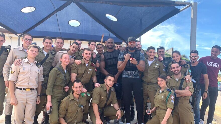 Washington Redskins running back Adrian Peterson and free-agent cornerback Josh Norman trained with Israel Defense Forces soldiers at the Wingate Institute in Netanya, Israel, on March 5, 2020. Credit: IDF Spokesperson's Unit via Twitter.