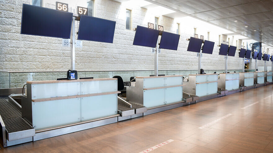 The deserted El Al check-in counter at Ben-Gurion International Airport, March 11, 2020. Photo by Flash90.