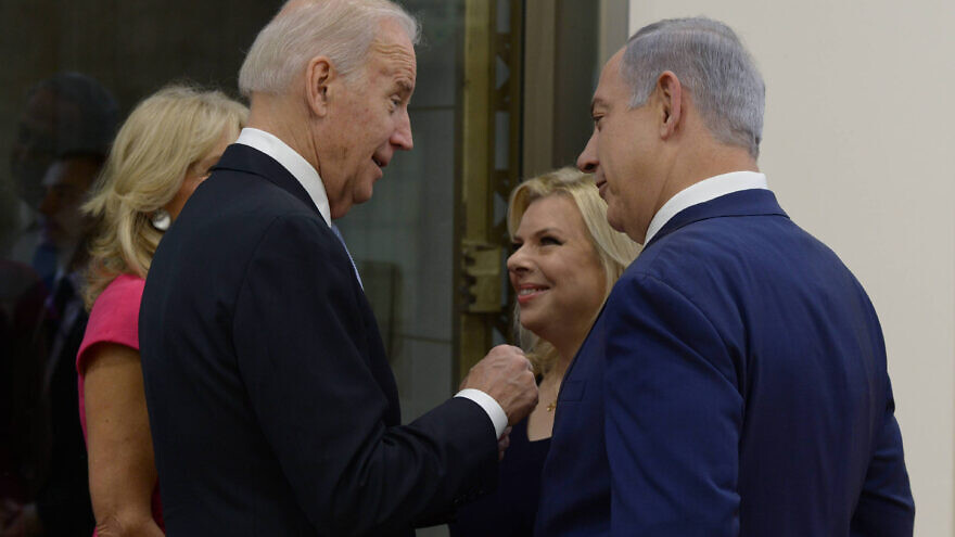 Israeli Prime Minister Benjamin Netanyahu and his wife, Sara, meet with U.S. Vice President Joe Biden and his wife, Jill, at the Prime Minister's Office in Jerusalem, on March 9, 2016, during Biden's official visit to Israel and the Palestinian Authority. Photo by Amos Ben Gershom/GPO.