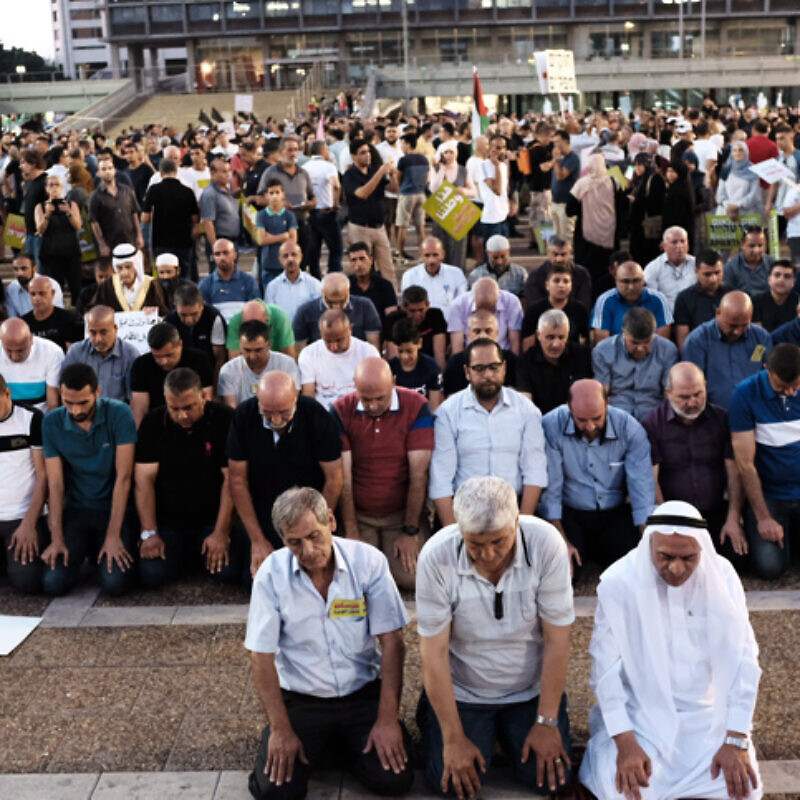 Arab Israelis and activists protest against Israel's Basic Law: Israel as the Nation-State of the Jewish People, in Rabin Square in Tel Aviv on Aug. 11, 2018. Photo by Tomer Neuberg/Flash90.
