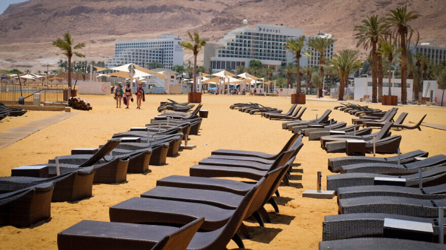 Hotels by the Dead Sea in southern Israel on July 10, 2019. Photo by Gershon Elinson/Flash90.