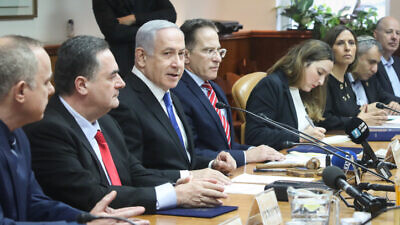 Israeli Prime Minister Benjamin Netanyahu leads the weekly cabinet meeting, at the Prime Minister's Office in Jerusalem, on Dec. 8, 2019. Photo by Marc Israel Sellem/POOL.
