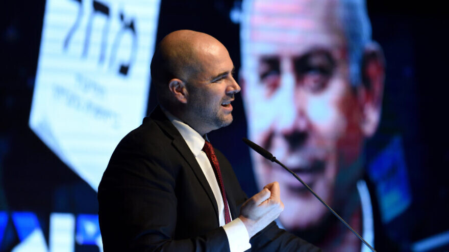 Israeli Public Security Minister Amir Ohana, when he served as justice minister, delivers a speech at a Likud Party election rally in Or Yehuda, on Feb. 13, 2020.  Photo by Gili Yaari/Flash90.