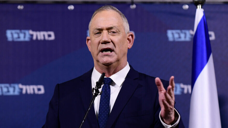Blue and White Party leader Benny Gantz holds a press conference at the Kfar Maccabiah Hotel in Ramat Gan on Feb. 26, 2020. Photo by Tomer Neuberg/Flash90.