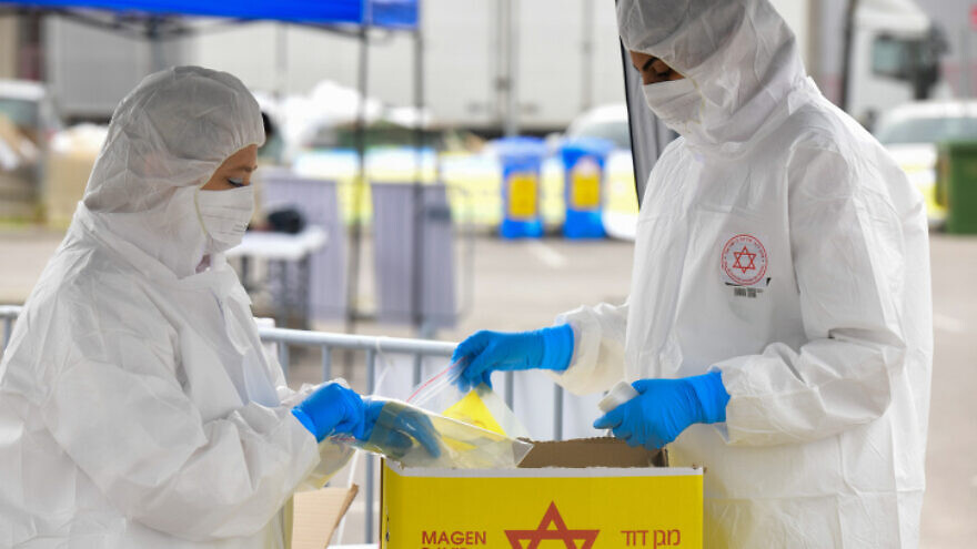 An Israeli Magen David Adom national emergency service drive-through coronavirus-testing complex in Bnei Brak on March 31, 2020. Photo by Flash90.