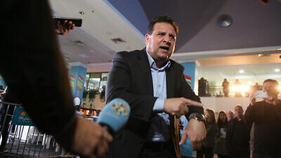 Joint Arab List head Ayman Odeh speaks to the media at party headquarters on election night in the Arab city of Shfar'am, March 2, 2020. Photo by David Cohen/Flash90.