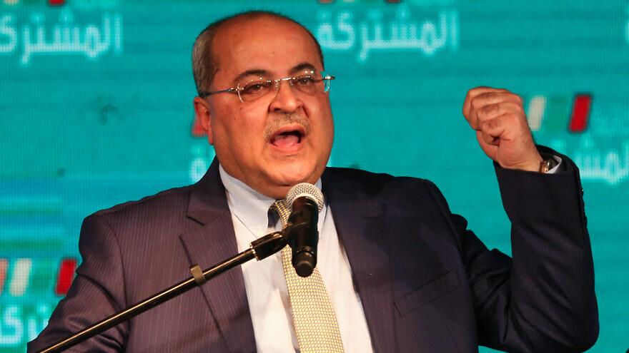 Arab Joint List member Ahmad Tibi speaks at party headquarters in the Arab city of Shfar'am during the third round of Israeli elections on March 2, 2020. Photo by David Cohen/Flash90.