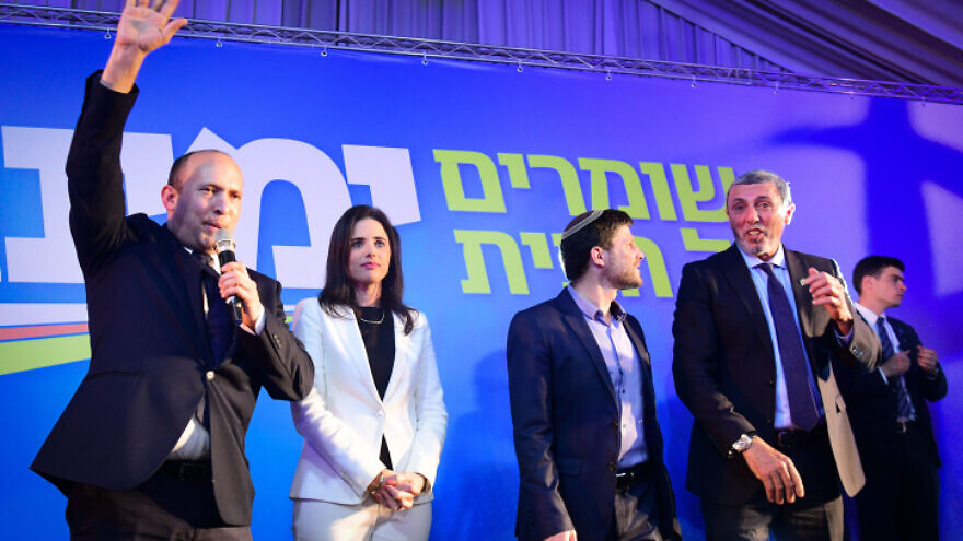 Yamina leader Naftali Bennett (left) seen with senior party members Ayelet Shaked (second from left), Bezalel Smotrich (second from right) and Rabbi Rafi Peretz, at the Yamina headquarters on election night, in Ramat Gan, Israel, on March 2, 2020. Photo by Flash90.