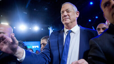 Blue and White Party leader Benny Gantz speaks to supporters at the party's headquarters in Tel Aviv on election night, March 3, 2020. Photo by Miriam Alster/Flash90.