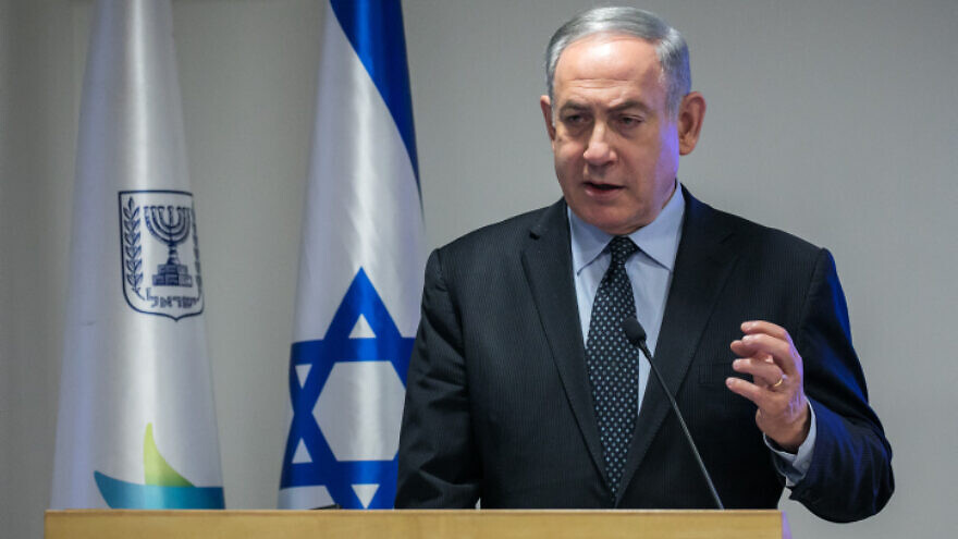 Israeli Prime Minister Benjamin Netanyahu speaks during a press conference at the Health Ministry in Jerusalem, on March 4, 2020. Photo by Olivier Fitoussi/Flash90.