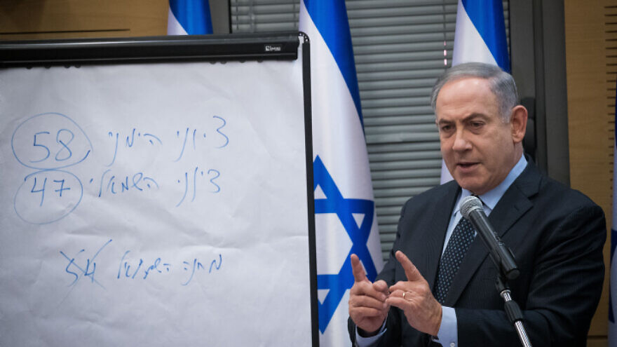 "Israeli Prime Minister Benjamin Netanyahu meets with the heads of the right-wing parties to discuss the results of Israel's March 2 elections. The Hebrew text on teh whiteboard reads ""Zionist right: 58, Zionist left, 47."" March 4, 2020. Photo by Yonatan Sindel/Flash90."
