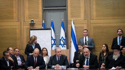 Israeli Prime Minister Benjamin Netanyahu meets with the heads of the right-wing parties on March 4, 2020, two days after the third round of elections in Israel. Photo by Yonatan Sindel/Flash90.