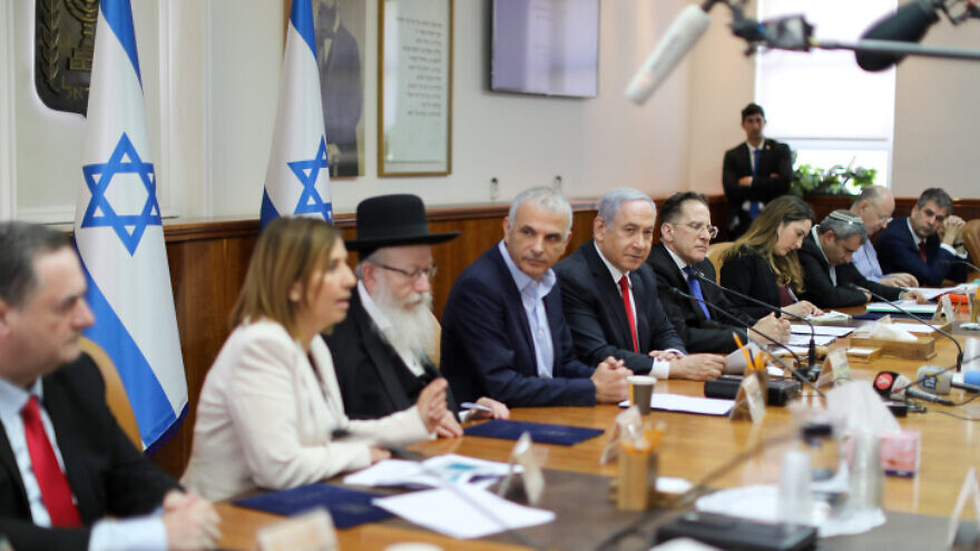 Israeli Prime Minister Benjamin leads the weekly cabinet meeting in Jerusalem on March 8, 2020. Photo by Marc Israel Sellem/POOL.