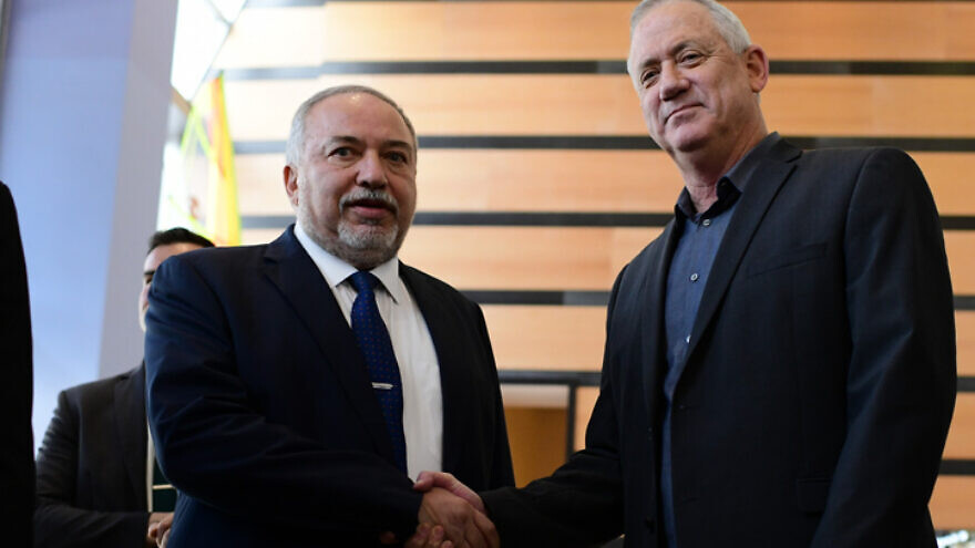 Blue and White Party leader Benny Gantz and Yisrael Beiteinu Party head Avigdor Lieberman hold a joint statement after meeting in Ramat Gan on March 9, 2020. Photo by Tomer Neuberg/Flash90.