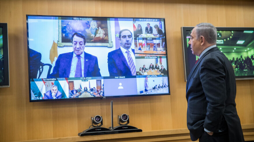 Israeli Prime Minister Benjamin Netanyahu holds a video conference with European leaders to discuss international cooperation in dealing with the coronavirus, at the Foreign Ministry in Jerusalem, on March 9, 2020. Photo by Yonatan Sindel/Flash90.