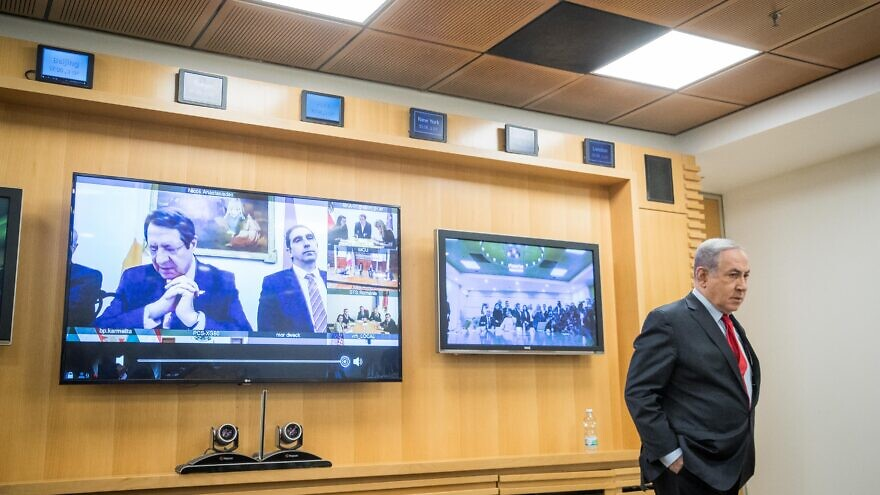 Israeli Prime Minister Benjamin Netanyahu participates in a video conference at the Foreign Ministry in Jerusalem with European leaders to discuss challenges and cooperation between countries in dealing with the coronavirus, March 9, 2020. Photo by Yonatan Sindel/Flash90.