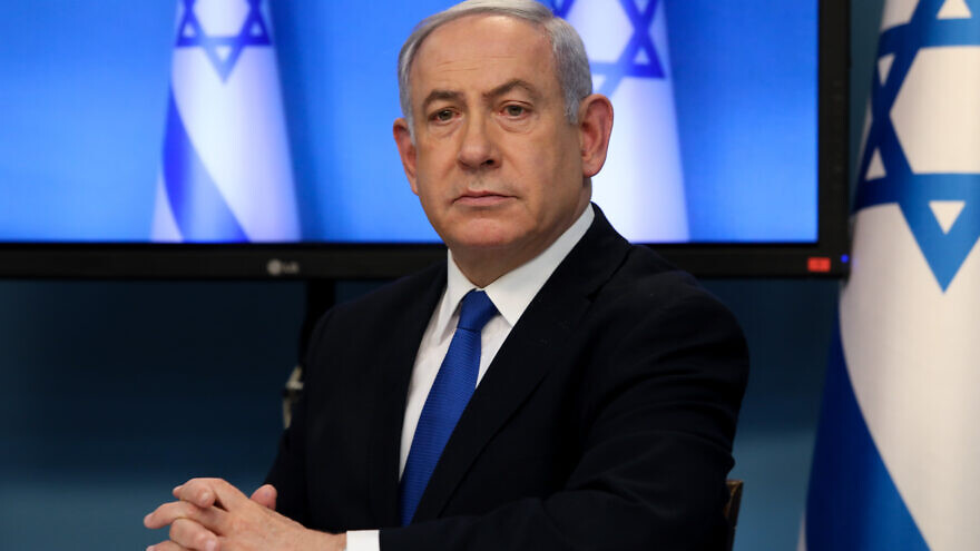 Israeli Prime Minister Benjamin Netanyahu gives a press conference on the coronavirus pandemic, at the Prime Minister's Office in Jerusalem on March 11, 2020. Photo by Flash90.
