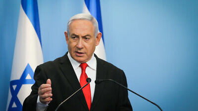 Israeli Prime Minister Benjamin Netanyahu holds a press conference at the Prime Minister's Office in Jerusalem on March 12, 2020. Photo by Alex Kolomoisky/POOL.