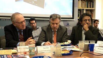 From left: Harvard Law School Professor Emeritus Alan Dershowitz; Dan Diker, director of the Project on BDS and Political Warfare at the JCPA; and Israeli journalist Ben-Dror Yemini. Credit: Judy Lash Balint.