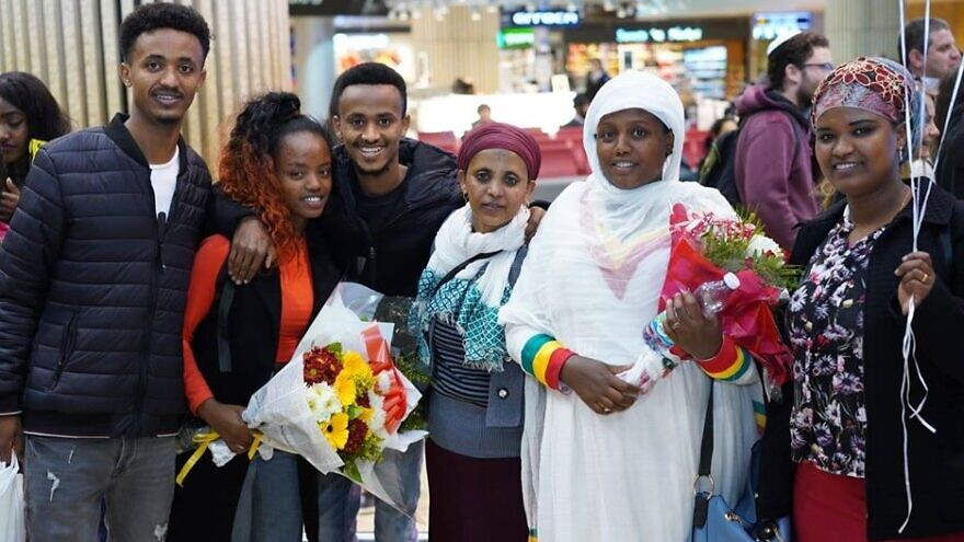 Ethiopian Jewish immigrants on a flight from Addis Ababa, sponsored by the International Christian Embassy Jerusalem, arrive in Israel in late February 2020. Credit: The Jewish Agency for Israel.