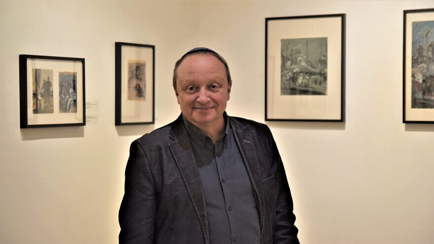 Contemporary artist Mikhail Yakhilevich, the grandson of Meer Axelrod, whose series of 30 paintings and graphic works are on display in Croatia for the first time, Feb. 27, 2020. Photo by Maya Laskovich.
