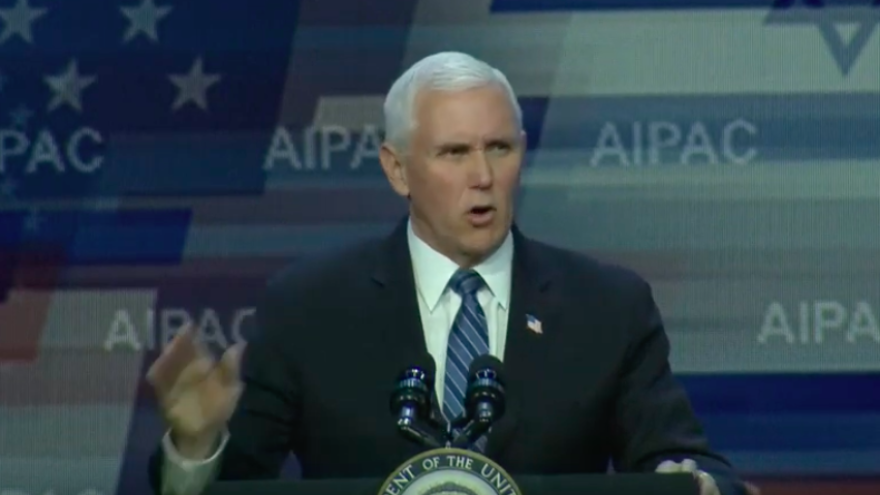 U.S. Vice President Mike Pence addresses the annual AIPAC Policy Conference on March 2, 2020, in Washington, D.C. Source: Screenshot.