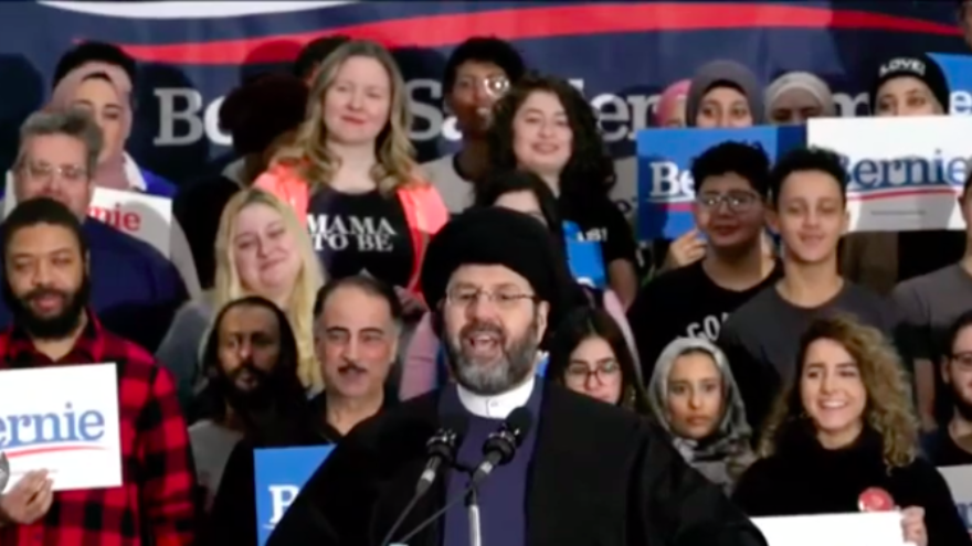 Imam Sayed Hassan Qazwini, head of the Islamic Institute of America in Dearborn Heights, Mich., at a rally for Democratic presidential candidate Sen. Bernie Sanders (I-Vt.) ahead of the Michigan primaries, March 7, 2020. Source: Screenshot.
