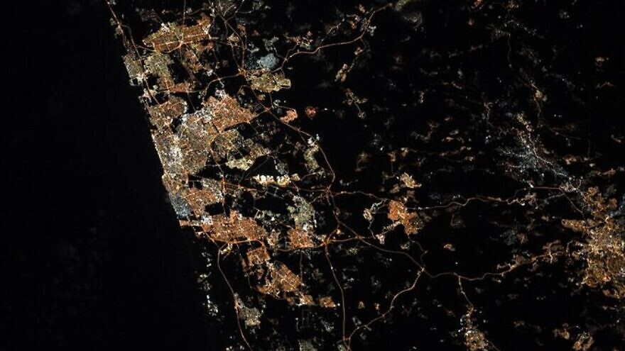 Jewish NASA astronaut Jessica Meir posted on Twitter an aerial image of Israel, with an emphasis on Tel Aviv. Photo by Jessica Meir on Twitter.