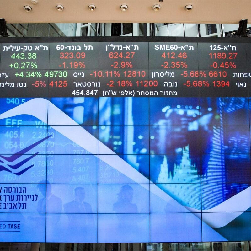 A stock market ticker screen in the lobby of the Tel Aviv Stock Exchange, in the center of Tel Aviv, March 15, 2020. Photo by Flash90.