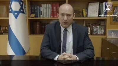 Israeli Defense Minister Naftali Bennett speaking about the coronavirus. Credit: Screenshot.