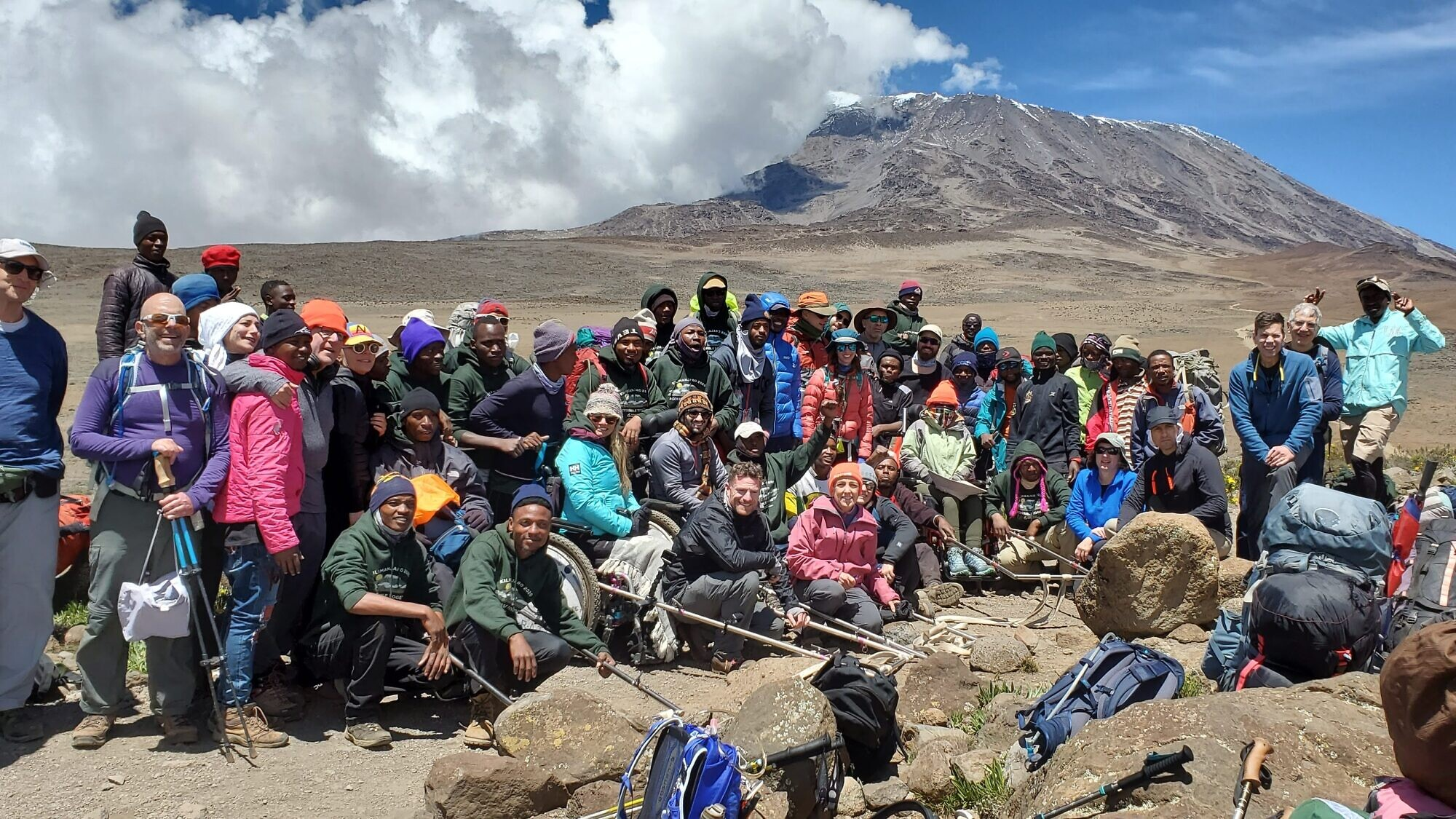 A group shot of the some 25 participants on the Friends of Access Israel (FAISR) climb up Mount Kilimanjaro. Credit: Friends of Access Israel.