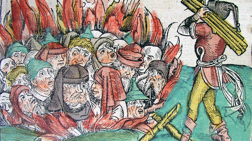 "The ""burning of the Jews"" depiction during Europe's Black Death plague. Source: University of Iowa's Library."