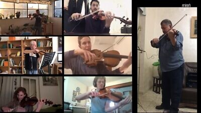 The Jerusalem Orchestra East & West performing online, March 2020. Source: Screenshot.