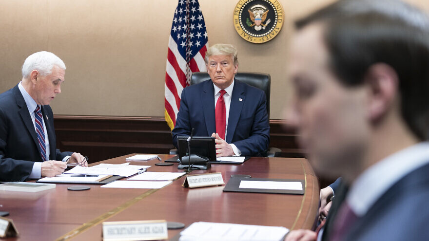 U.S. President Donald Trump, joined by Vice President Mike Pence and members of the White House Coronavirus Task Force, participates in a video teleconference with governors to discuss the response to the pandemic, March 26, 2020, in the White House Situation Room. Credit: Shealah Craighead/The White House.
