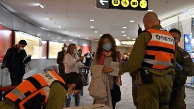 Israel Defense Forces' personnel have taken over the handling of international arrivals at Ben-Gurion International Airport. Credit: Israel Ministry of Defense.