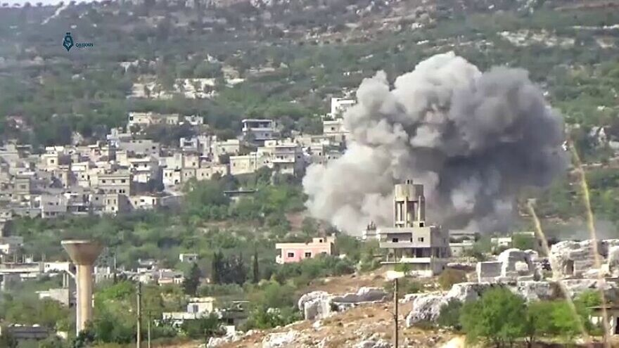 A Syrian or Russian airstrike hits the town of Bidama in Syria's western Idlib Governorate, on Sept. 25, 2017. Photo: Qasioun News Agency via Wikimedia Commons.