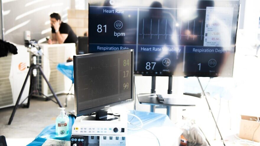 The Defense Ministry announced that its National Emergency Team, together with IAI and Elbit, have developed the prototypes to measure the vital signs of patients, including pulse, respiratory rate and temperature, and pick out patterns that indicate a likely coronavirus infection. Credit: Elbit Systems.